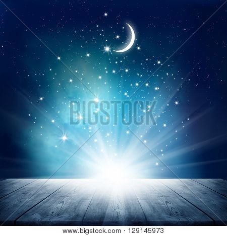 Stars background  with wooden table