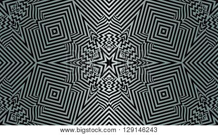 texture pattern illusion of the lines in the form of a symmetrical convex rhombus in a square on dark a background metal gradient