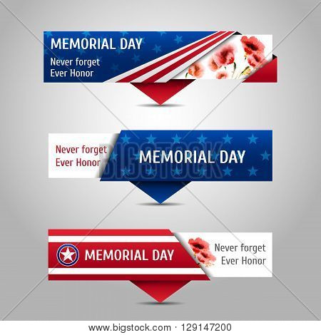 Memorial day banners with watercolor poppies. Never forget ever honor. Vector set.