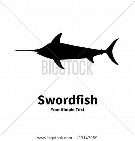 Vector illustration silhouette of swordfish. Isolated on white background.