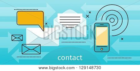 Contact concept message and speech bubble. Conceptual banner envelope contacts and message. Incoming and outbox alerts. Digital communication dialogue and correspondence. Vector illustration