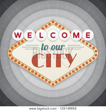 Welcome to our city vintage vector poster. Vector signs on circle background. isolated from background.