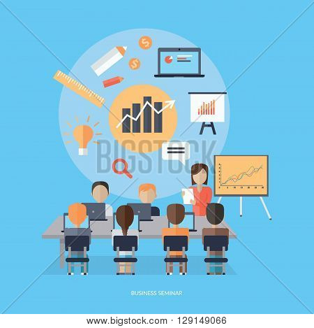 Training staff briefing presentation. Staffing and corporate training, employee seminar, mentor and people, business seminar, meeting group illustration. Woman near board with carts and graphs