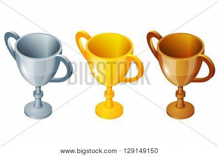 Winner cup set. Winner cup Vector gold, silver and bronze winner cup. Prize first third and second. Winner sport cup