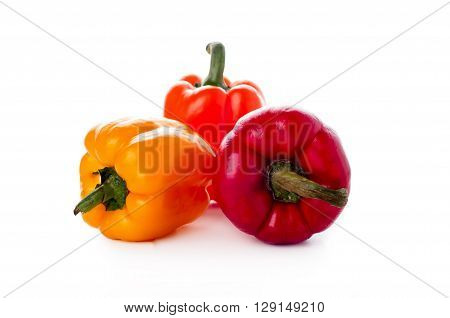 Peppers Over White Background