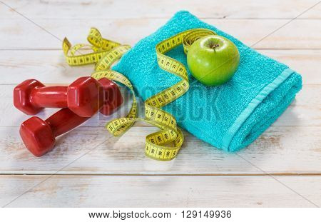 Set for sports activities on tiled floor