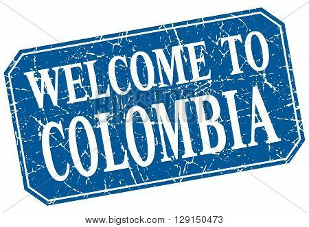welcome to Colombia blue square grunge stamp
