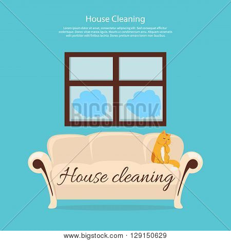 House cleaning. Cat on sofa design flat. Clean house service, housework and home cleaning, domestic cleaning service, clean room vector illustration