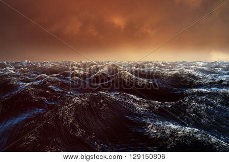 Dark blue rough ocean against cloudy sky