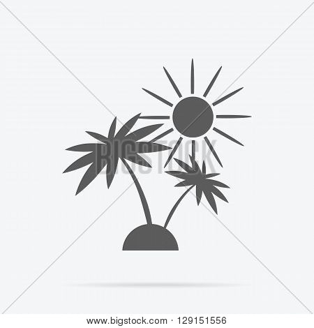 Silhouette of palm trees and sun. Icon black and white palm sunshine travel and leisure. Monochrome combination of tropical plant on a desert island. Sign or symbol exotic holiday. Vector illustration