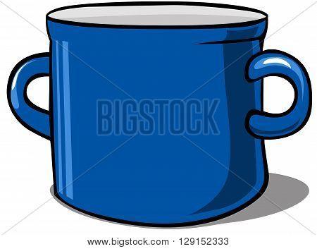 blue kitchen pot - vector illustration isolated