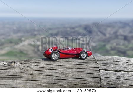 Scale model of famous red car at San Marino