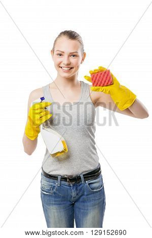 Young woman with sponge and cleansing spray for window, close-up, housewife, isolated on white