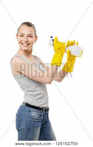 Young woman with cleansing spray for window, smiling housewife, isolated on white