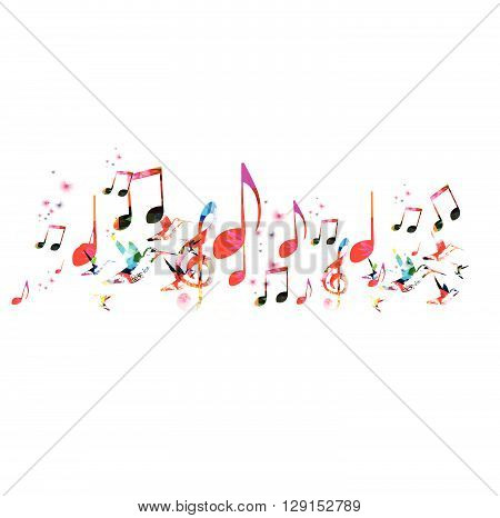 Colorful music background with hummingbirds. Vector illustration