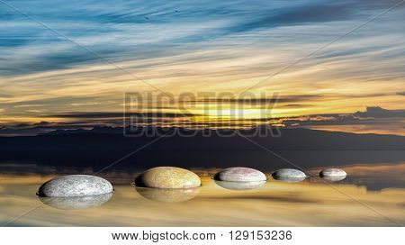 3D rendering of Zen stones in water with sunset sky and peaceful landscape.
