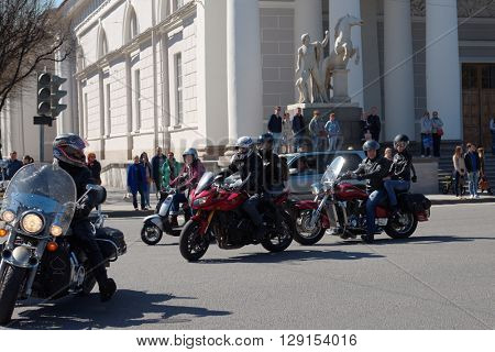 ST. PETERSBURG, RUSSIA - MAY 2, 2016: Motorbike parade on the Admiralteysky avenue. The parade organized by the city motorcycle clubs union and dedicated to the opening of new season