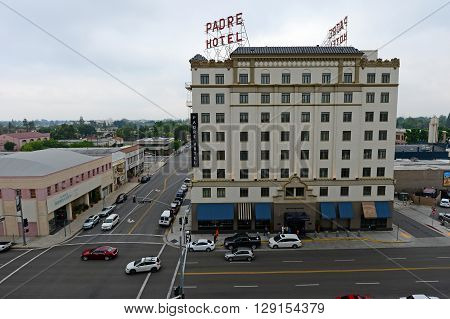 BAKERSFIELD, CA - MAY 8,2016: The landmark Padre Hotel was constructed in 1928. Recently renovated, it now accommodates guests with elegant rooms and fine dining.