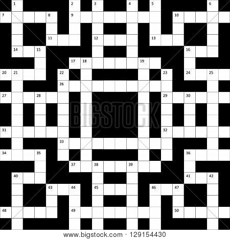 the crossword puzzle grid with numbers is empty. vector illustration