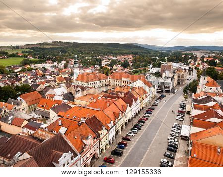 Aerial view of main square in Domazlice, Czech Republic