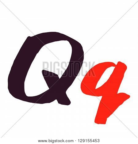 Q Letter Logo Painted With A Brush.