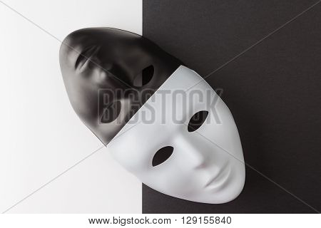 Black And White Masks Diagonally Placed