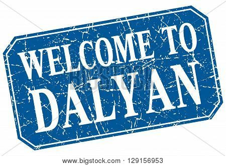welcome to Dalyan blue square grunge stamp