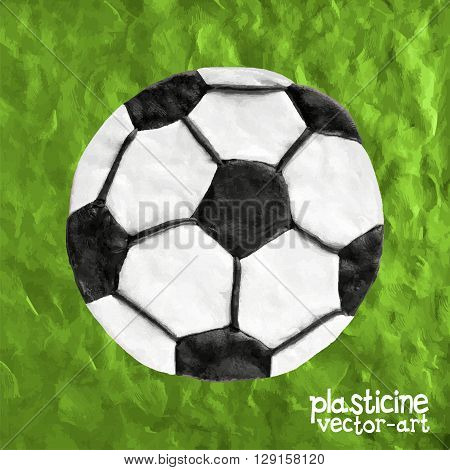 Soccer ball on soccer field vector illustration