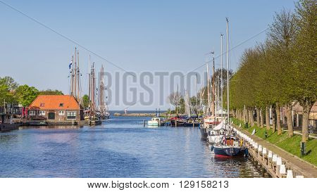 Harbor with sailing boats in Medemblik Holland