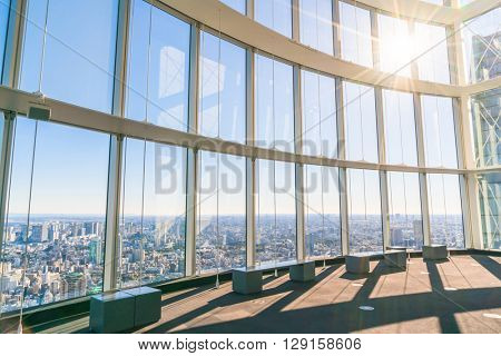 Observation windows  in Tokyo with views of skyscrapers Japan