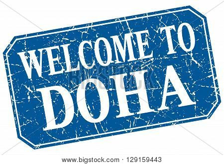 welcome to Doha blue square grunge stamp
