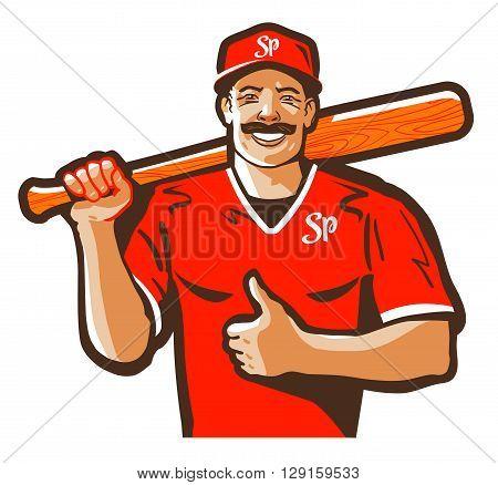 baseball vector logo. player or sport icon