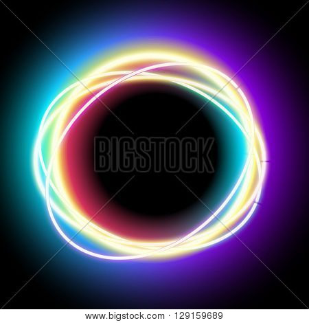Neon oval. Neon purple light. electric frame. Vintage frame. Retro neon lamp. Space for text. Glowing neon background. Abstract electric background. Neon sign circle. Glowing electric frame