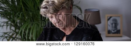 Elderly woman in depression after death of her spouse