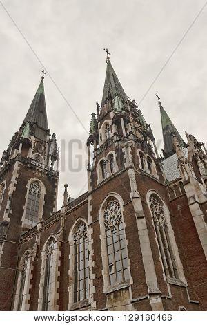 Olga and Elizabeth Temple. Neo-Gothic church in Lviv Kropivnitsky square