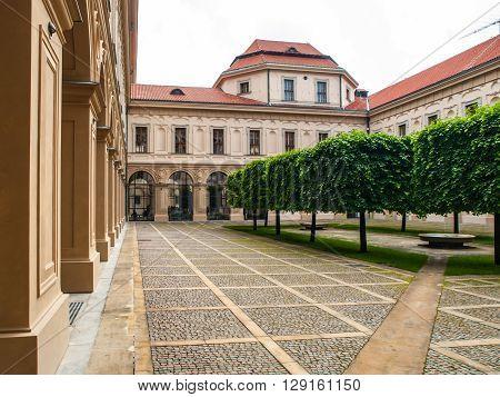 Courtyard of Czernin Palace in Prague, Czech Republic