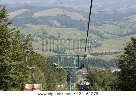 Empty Cableway to mountain Pylypets. Karpaty Ukraine