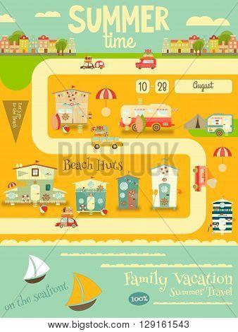 Summer Card. Beach Huts Caravans Cars on Summer Poster. Seafront. Camping. Vector Illustration.