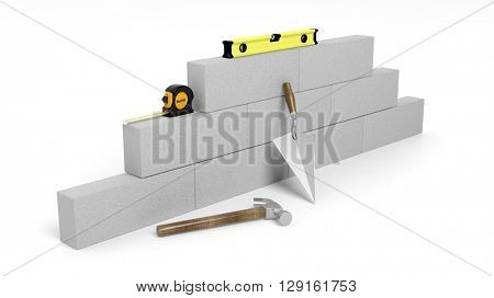 3D rendering of masonry tools and bricks, isolated on white background.