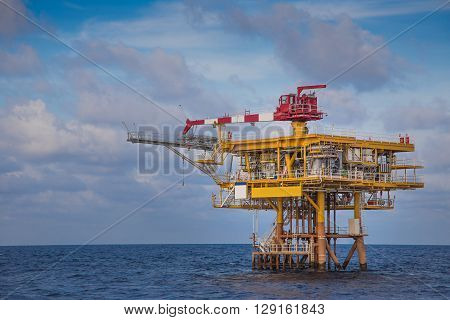 Oil and Gas wellhead remote platform produced gas condensate and water sent to central processing platform