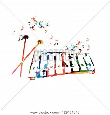 Vector illustration of colorful xylophone with hummingbirds
