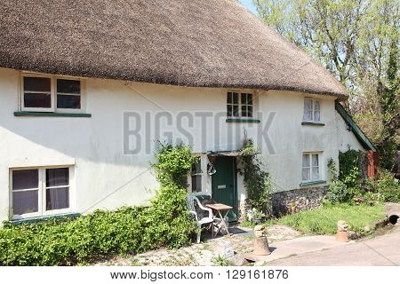 A thatched cottage somewhere in rural Devonshire on a sunny Spring morning