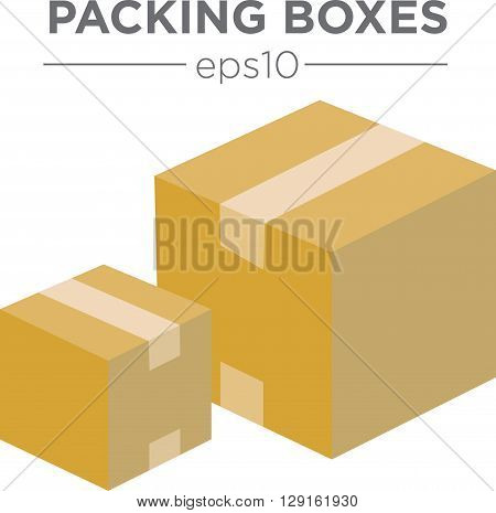 Simple 3D Packing Box Icon - Large and Small eps10