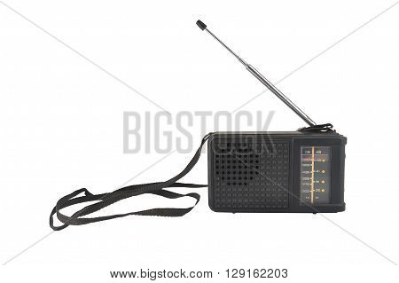 old black plastic radio with antenna and strap