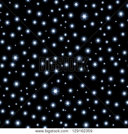 Vector seamless Space background, night sky and stars black and white seamless vector pattern