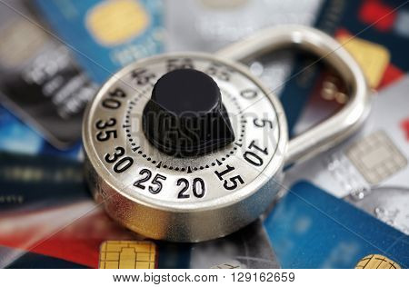 Lock with credit card.