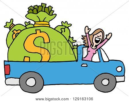 An image of a woman driving away with runaway savings moneybags.