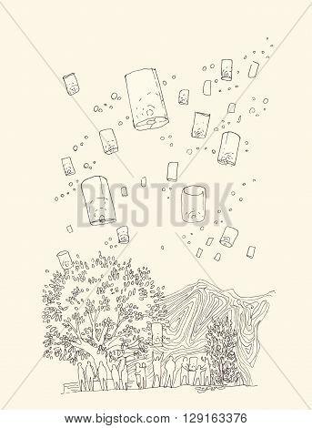Hand illustration of floating lantern in loy krathong festival thaialnd