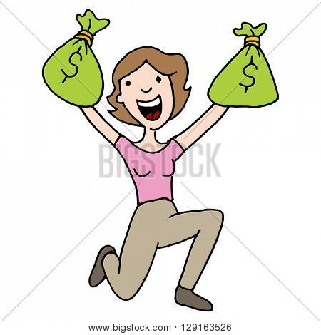 An image of a woman with runaway savings moneybag
