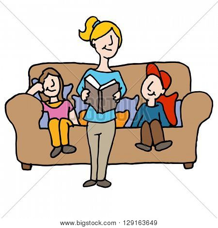 An image of a baby sitter reading to children.